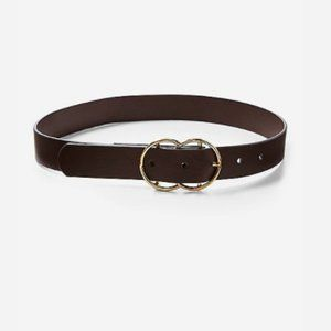 Justice Brown Faux-Leather Belt Gold Circle Buckle